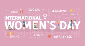 International womans day. International womens day. Holiday for women of all types royalty free illustration