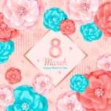 International Womens Day. 8 March. Floral spring background with pink and turquoise decorative flowers, abstract elements hand drawn texture. Template for card vector illustration