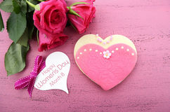 International Womens Day, March 8, heart shape cookie Royalty Free Stock Images