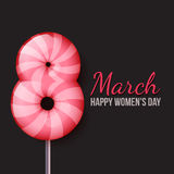 International Womens Day. March 8. lollipop eight Royalty Free Stock Photo
