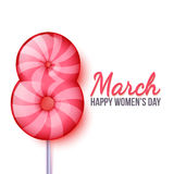 International Womens Day. March 8. lollipop eight. International Womens Day. Eight candy. Sweet Room 8. Eight on March 8. Celebration of women and girls. Womens stock illustration