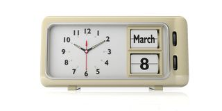 International womens day 8 March on old retro alarm clock, white background, isolated, 3d illustration. International womens day celebration date, March 8 text royalty free illustration