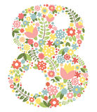 The international womens day on March, 8th. Greeting background with cherry petal number 8 stock illustration
