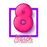 International Womens Day. March 8. volume eight. 3d realistic figure 8. Volume Eight with a purple border. International Women Day. Greeting card with the Royalty Free Stock Photography