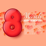International Womens Day. March 8. volume eight. International Womens Day. Womens holiday. March 8. Holiday card. Pink background with flowers and hearts royalty free illustration
