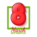 International Womens Day. March 8. volume eight. Spring holiday on March 8th. International Womens Day. Spring Festival. March 8. Red 3d figure. Greeting card vector illustration