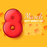 International Womens Day. March 8. volume eight. A stylish card with a red eight. International Womens Day. March 8. Celebration. Greeting card with place for Royalty Free Stock Photos