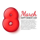 International Womens Day. March 8. volume eight. A stylish card with a red eight. International Womens Day. March 8. Celebration. Greeting card with place for royalty free illustration