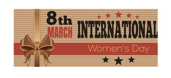 International Womens Day. Retro Style greeting card. 8th March Royalty Free Stock Images