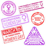 International Womens Day Stamps. International Womens Day. Rubber stamp EPS 10 vector illustrations Stock Illustration