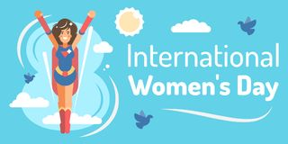 International womens day. Template with young super hero girl for international womens day celebration vector illustration