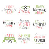 International Womens Day text 8 March for celebration greeting card design vector Stock Photography