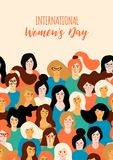 International Womens Day. Vector template. Royalty Free Stock Images