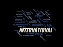International - word cloud wordcloud - terms from the globalization, economy and policy environment Royalty Free Stock Photo