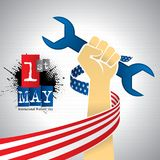 International Worker`s Day greeting card. ribbon with the USA flag around an arm holding a spanner. Vector image Royalty Free Stock Photography