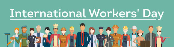 International worker`s day. People with different jobs as plumber, doctor and more Royalty Free Stock Photo