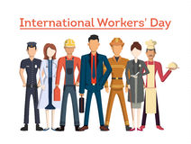 International worker`s day. People with different jobs as plumber, doctor and more. White background Stock Photos