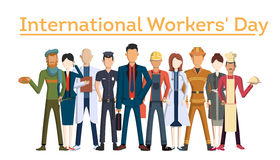 International worker`s day. People with different jobs as plumber, doctor and more. White background Royalty Free Stock Images