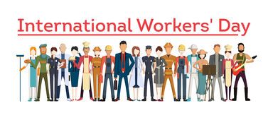 International worker`s day. People with different jobs as plumber, doctor and more. White background Royalty Free Stock Photos