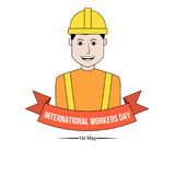 International workers day banner. With laborer wearing safety helmet Stock Photos