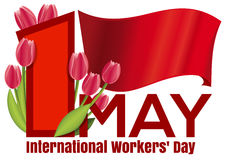 International Workers Day design with the red flag. International Workers Day card with the red flag and a bouquet of tulips. 1 May. Labor Day background. May Stock Photography