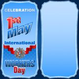 International Workers day, First May  celebration. Holidays, design background with 3d texts, hammer and wrench on gear for celebration of First May Stock Image