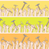 International Workers Day. Hands holding hammers seamless pattern. Vector card with seamless border Stock Photography