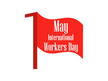 International Workers Day. Labour Day 1st of May. Red flag. Vector Stock Photography