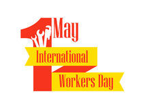 International Workers Day. Labour Day 1st of May. Ribbon with text and building instructions. Vector Stock Images