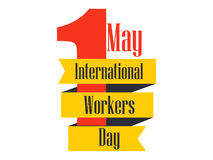 International Workers Day. Labour Day 1st of May. Ribbon with text, logo. Vector. Illustration Royalty Free Stock Photography