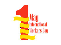 International Workers Day. Labour Day 1st of May. Ribbon with text, logo. Vector Stock Images