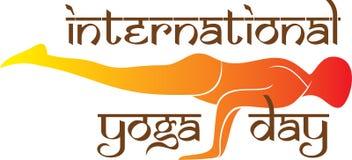 International yoga day poster design. Men doing yoga practice Stock Image