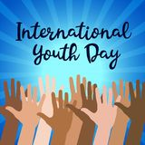 International Youth day,12 August, Hand Drawn Sketch Vector illustration. International Youth day, 12 August, different skin color hands. Vector illustration Royalty Free Illustration
