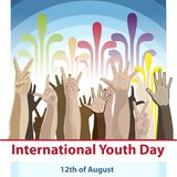 International Youth day,12 August, Hand Drawn Sketch Vector illustration. International Youth day,12 August, Hands of young people of different races Royalty Free Illustration