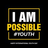 International youth day, 12 August,  I am possible stock illustration