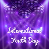 International Youth Day. 12 August. Mirror balls for parties with rays, purple blur background. International Youth Day. 12 August. Concept of holiday. Mirror Vector Illustration