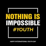 International youth day, 12 August, Nothing is impossible stock illustration