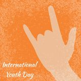 International Youth Day. 12 August. Sign of the horns. Orange grunge background. International Youth Day. 12 August. Concept of holiday. Sign of the horns Royalty Free Illustration
