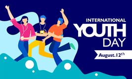 International youth day, August 12 th. with active and passionate young people illustration. on blue wavy shape and blue backgroun vector illustration