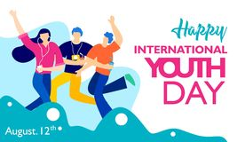 International youth day, August 12 th. with active and passionate young people illustration. on blue wavy shape and blue backgroun royalty free illustration
