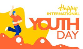 International youth day, August 12 th. with active and passionate young people illustration. on orange wavy shape and white backgr stock illustration