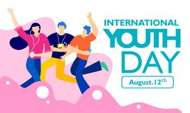 International youth day, August 12 th. with active and passionate young people illustration. on pink wavy shape and white backgrou vector illustration