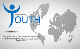 International youth day background with world map Stock Photo
