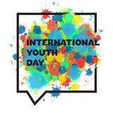 International Youth Day Banner. Vintage template card of International Youth Day for banner, brochure, flyer, greeting, invitation, cover. Design Elements for Stock Photos