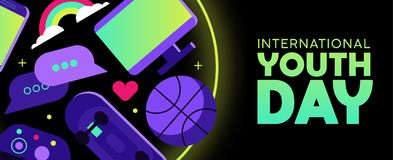 Youth Day web banner of fun teen hobby icons Royalty Free Stock Photo