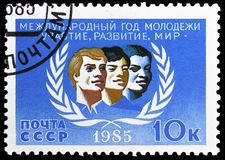 International Youth Year, circa 1985. MOSCOW, RUSSIA - MAY 25, 2019: Postage stamp printed in Soviet Union (Russia) devoted to International Youth Year, circa royalty free stock photo