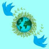 Internationale Aardedag De duiven bouwen een nest van takjes Dag van vrede, planeten, milieu vector illustratie