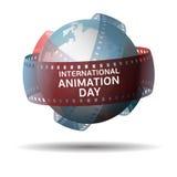 Internationale animatiedag Bol met filmstrip op witte achtergrond wordt geïsoleerd die Stock Foto