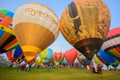 Internationale Ballonfiesta 2018 in Singha-Park, Chiang Rai, Th Stock Foto's