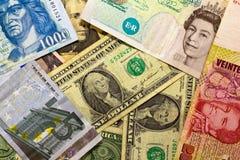 Internationale Banknoten Stockfotografie